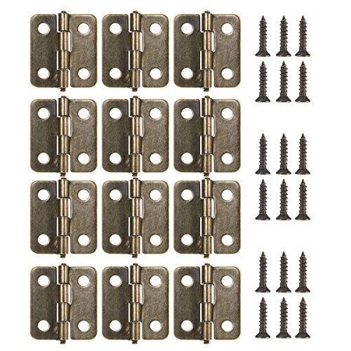 18MM Antique Brass Mini Hinges 12-Pack with Bronze Screws for Wooden Jewelry Box Cabinet ()
