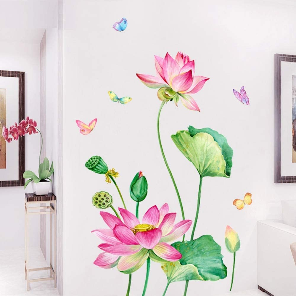 Amazon Com Llydd Pink Lotus Flower Butterfly Wall Sticker Decal Art Decor Peel And Stick Self Adhesive For Living Room Bedroom Playroom Nursery Room Delightful Cheerful Realistic Vibrant Greenish Bright Arts Crafts