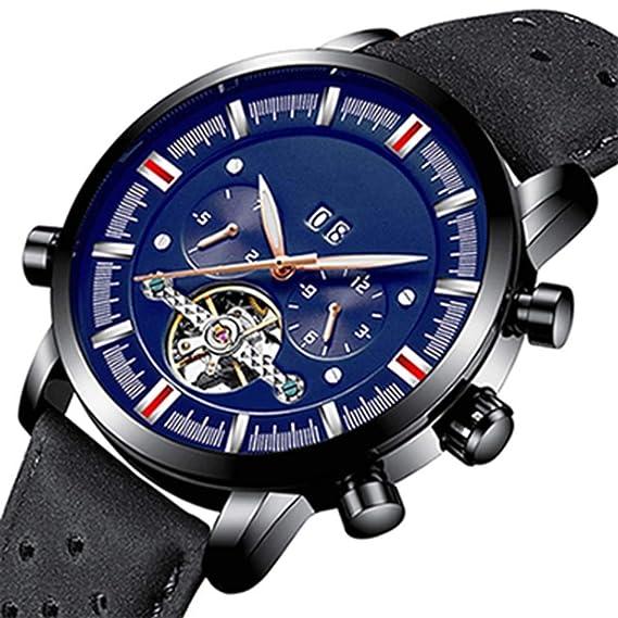 SBDONGJX Steampunk Reloj mecánico Classic ourbillon Skeleton Watch Luminous Perpetual Calendar, Negro Azul Negro: Amazon.es: Relojes