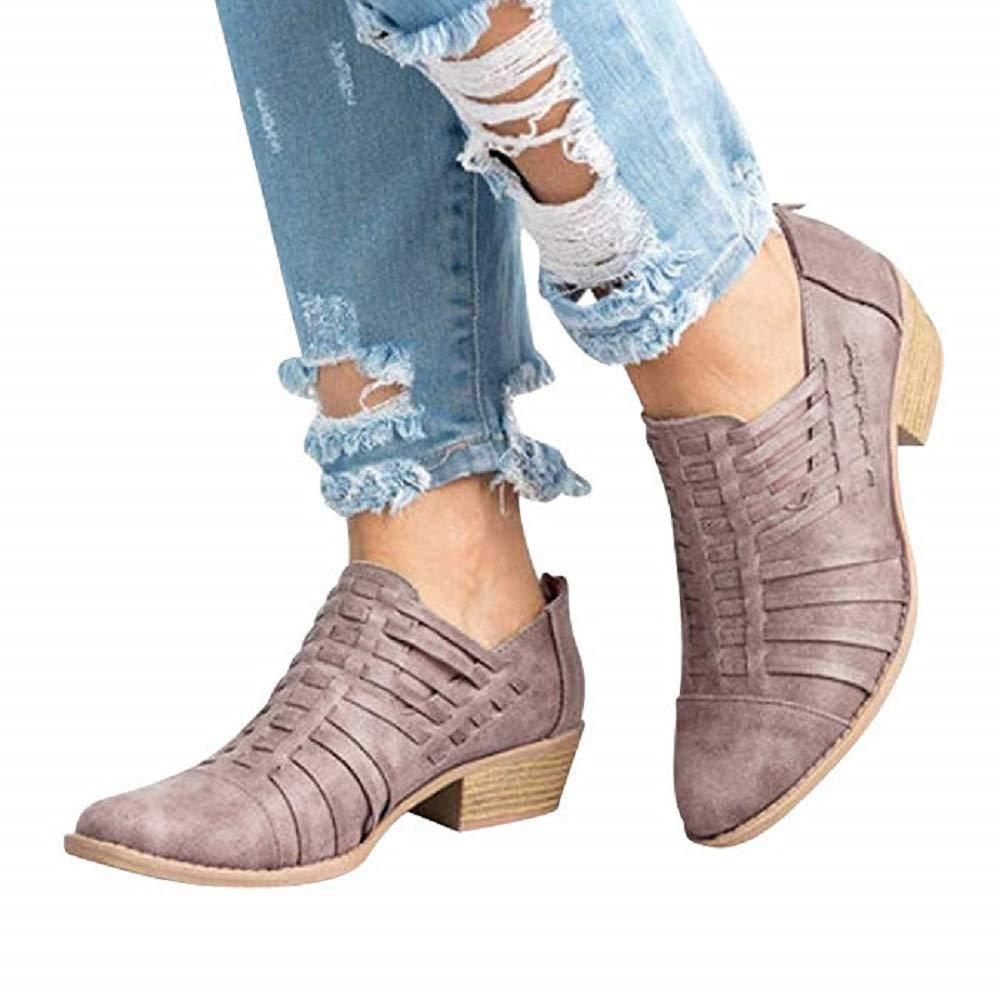 Scarpe Pelle Donna Brogue Basse Eleganti Tacco Romon Moda Oxford Derby Uniforme Scarpe con Zip Sneakers 5cm Nero Rosa Cachi 34-44 EU 20801