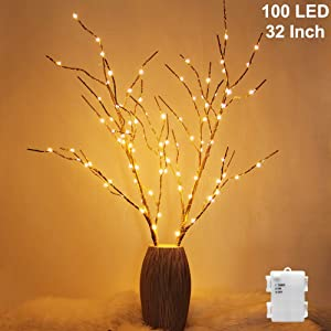 Twinkle Star 100 LED Lighted Golden Tree Branches 2 Pack Artificial Branches Waterproof Battery Operated with Timer for Indoor Outdoor Christmas Wedding Party Home Decoration (Vase Excluded)