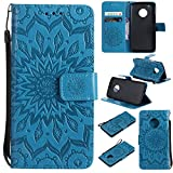 Motorola Moto G5 Plus Case Cover,SMYTU Premium Emboss Sunflower Flip Wallet Shell PU Leather Magnetic Cover Skin with Wrist Strap Case for Motorola Moto G5 Plus(Blue) Review