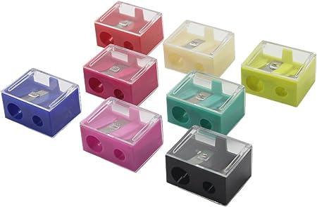 12pcs duales agujeros sacapuntas cosméticos con cubierta transparente, manual de corte lápiz de cejas en forma de caja: Amazon.es: Hogar