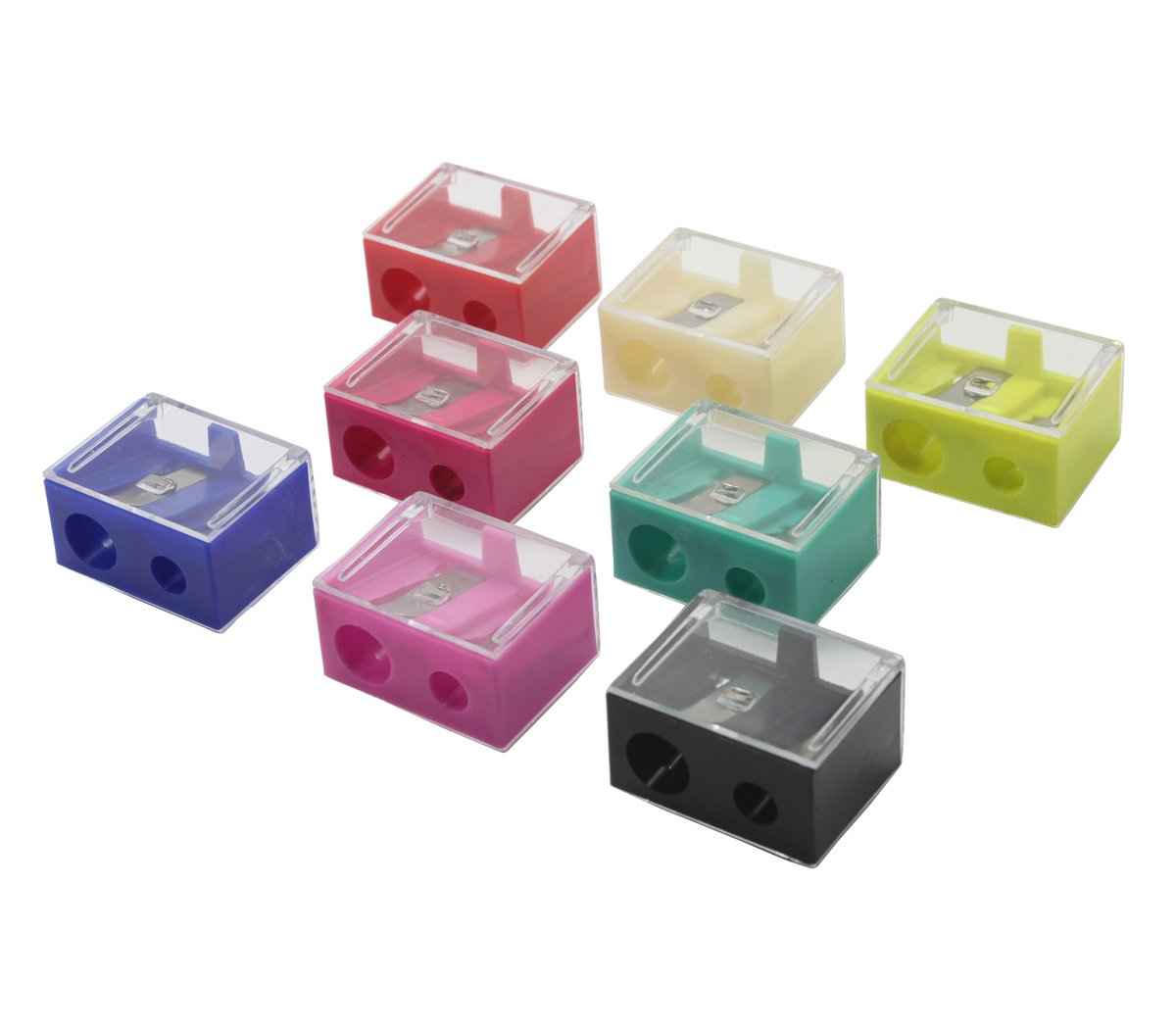 12Pcs Dual Holes Cosmetic Pencil Sharpeners With Clear Cover, Manual Box-Shaped Eyebrow Pencil Cutter Daptsy
