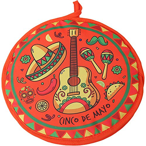DOKKIA Tortilla Warmer 12 Inch Insulated Cloth Pouch - Microwavable Use Fabric Bag to Keep Food Warm for up to One Hour (12 Inch, Cinco De Mayo Guitar Sombrero -