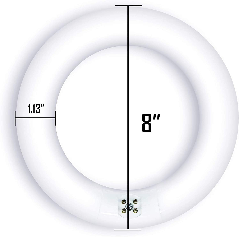 Bulbmaster FC8T9/D 22 Watts 8 Inch Round T9 Fluorescent Circular Light Bulb, Daylight 6500K, FC8T9 980 Lumens G10Q 4-Pin Base 22W Circline Ceiling Lights