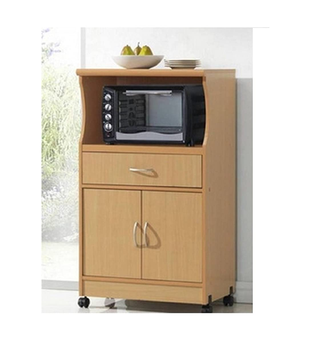 Microwave Cart Stand - Beech Finish - One Shelf for the Microwave and Another Shelf Above Plus a Drawer and Cabinet Below