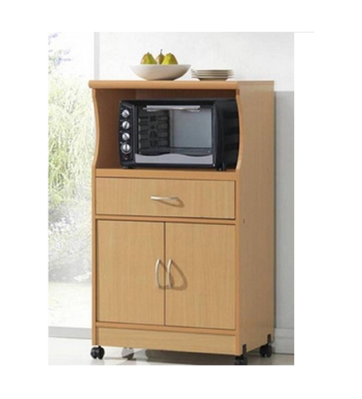 Amazon.com: Microwave Cart Stand   Beech Finish   One Shelf For The  Microwave And Another Shelf Above Plus A Drawer And Cabinet Below: Kitchen  U0026 Dining