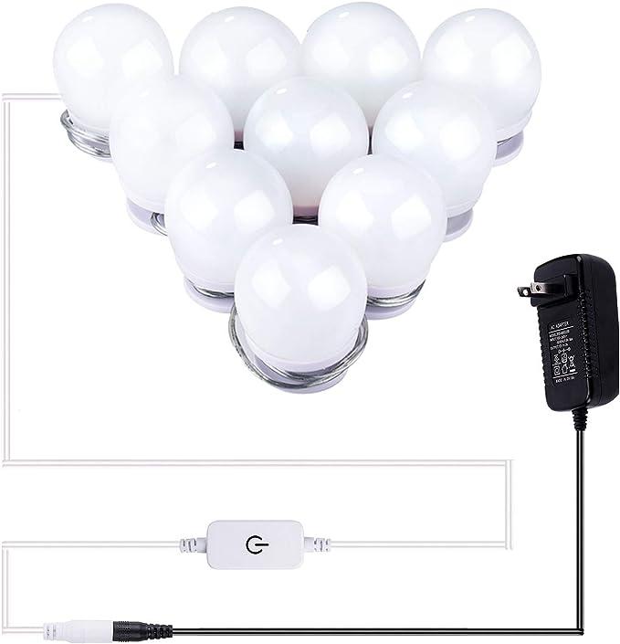 WAYKING Miroir cosm/étique lumineux avec /éclairage Hollywood Vanity Miroir 12 LED /Économie d/énergie Port de charge USB