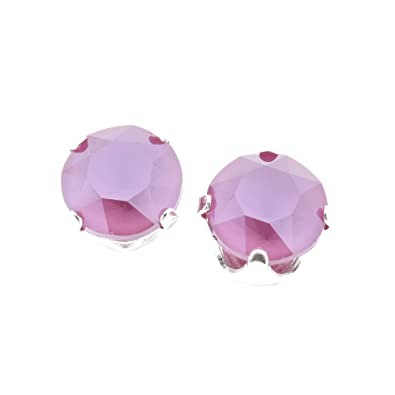 7cf9f845ef854 925 Sterling silver stud earrings made with Peony Pink crystal from ...
