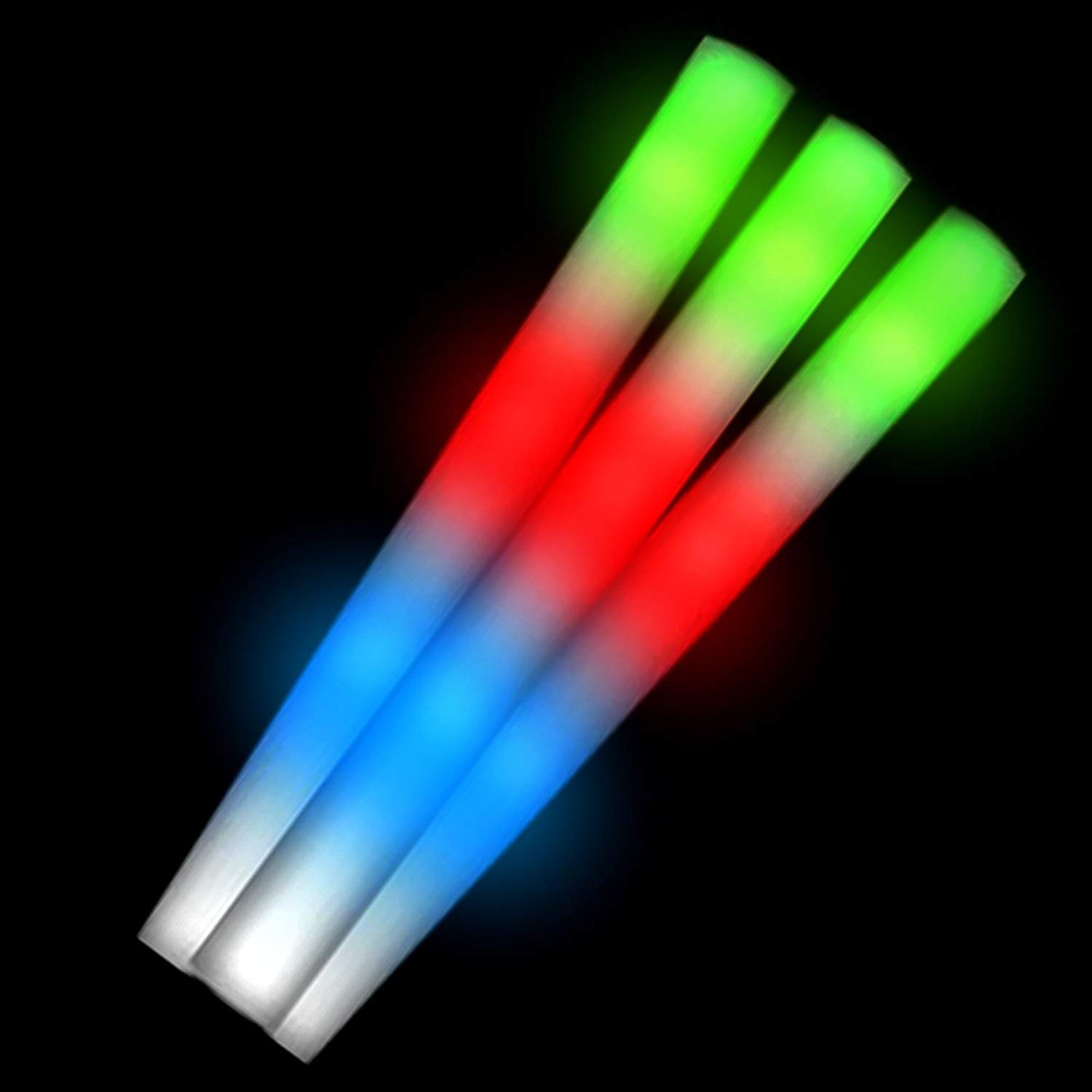 Fun Central AC879 24 Pcs 18 Inches Multicolor LED Light Up Foam Stick Baton Premium Flashing Baton Sticks Glowing Stick Baton for Concert Sporting Events and Night Party