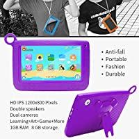NPOLE Kids Tablets Android 7 Inch 1280x800 IPS Display with Parental Control Software - iWawa Wifi Camera 3D Game HD Video Supported Purple from NPOLE