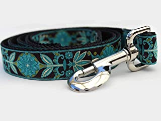 product image for Boho Custom Engraved Dog Collar by Diva Dog (Optional Matching Leash Available) Standard and Extra Wide in Peacock (1 in. x 4 ft.)