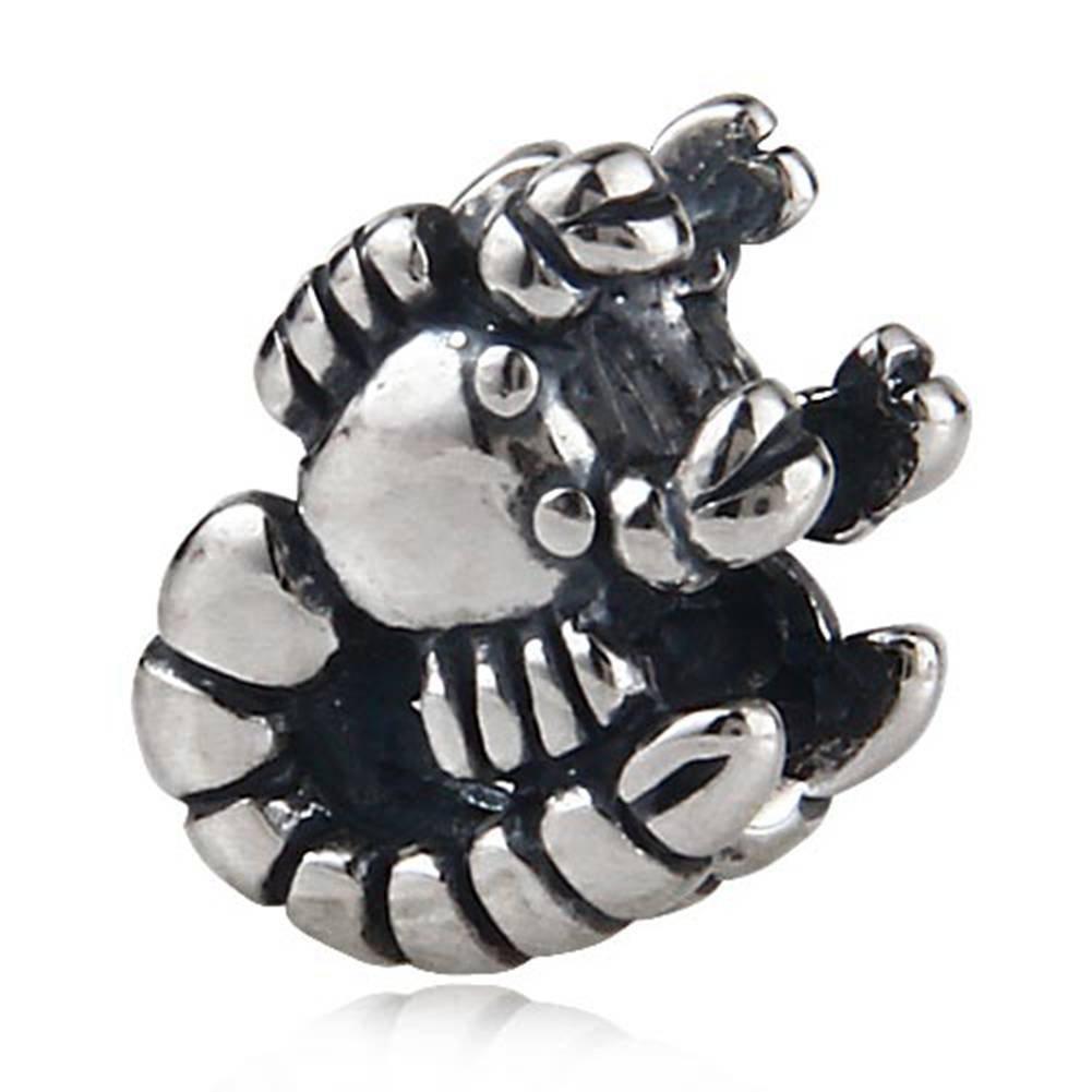 Fantasticharm Breloque Scorpion en v/éritable argent sterling 925/Perle en forme danimal pour Bracelet europ/éen Diy