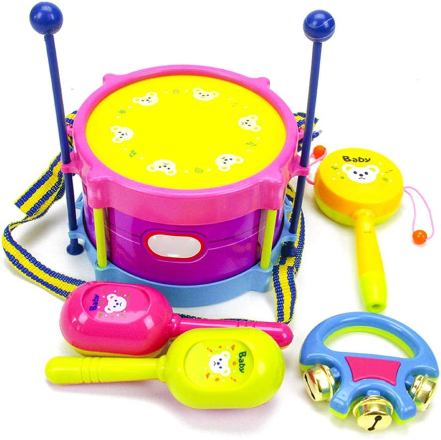 Years Old Kids Roll Drum Musical Instruments Band Kit Children Toy Gift 5pcs 3