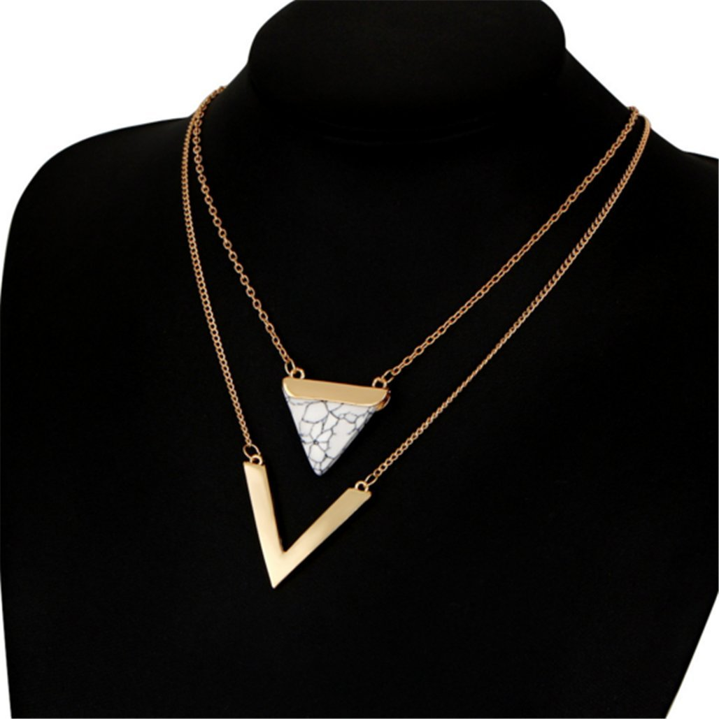 Double Layered Necklaces Pine Stones Triangular Pendants V Shaped Necklace Accessories ZYanYi