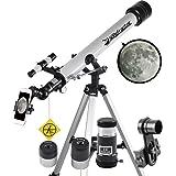 Landove Telescope, 60mm AZ Refractor Telescope with 10mm Smartphone Digiscoping Adapter - Observer 60mm AZ Refractor & Travel Scope Starter Kit