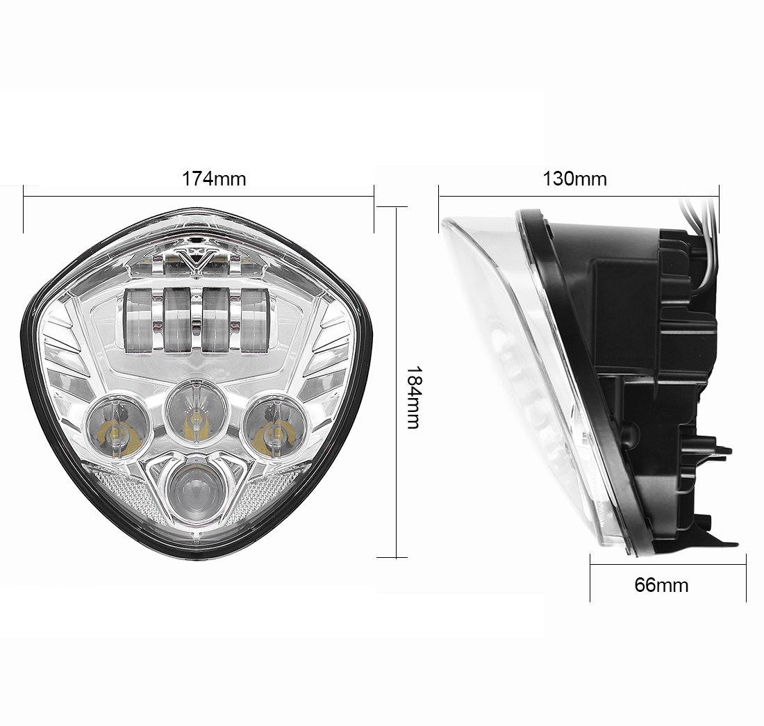 para motocicleta Victory Cross-Country cromo y cromo bajo haz de 40 W con luz LED de 60 W Kit de faros delanteros para motocicleta