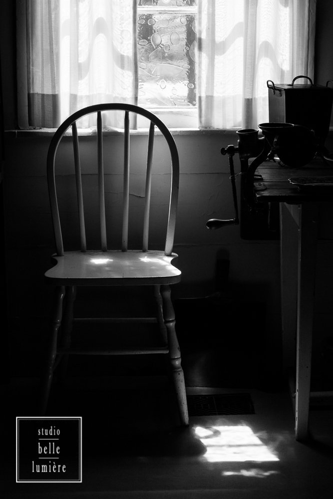 Vintage Country Decor - Wooden Chair by Kitchen Window - Beautiful Window Light - Black and White Fine Art Photography Print - 8x10, 8x12, 10x15, 11x14, 12x18, 16x20, 16x24