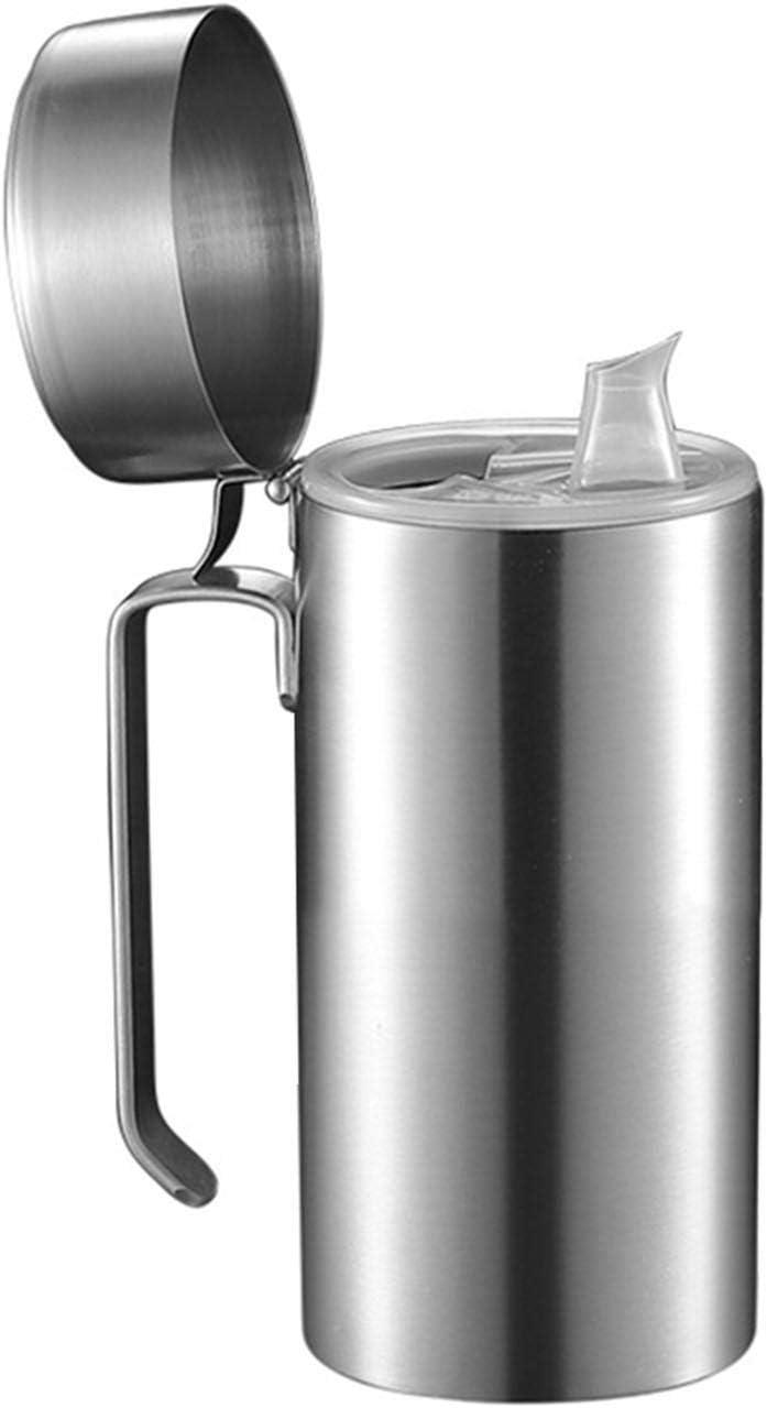Aceitera de acero inoxidable, con tapa de filtro para la boca, dispensador de aceite de oliva y aceite de acero inoxidable, dispensador de aceite a prueba de fugas