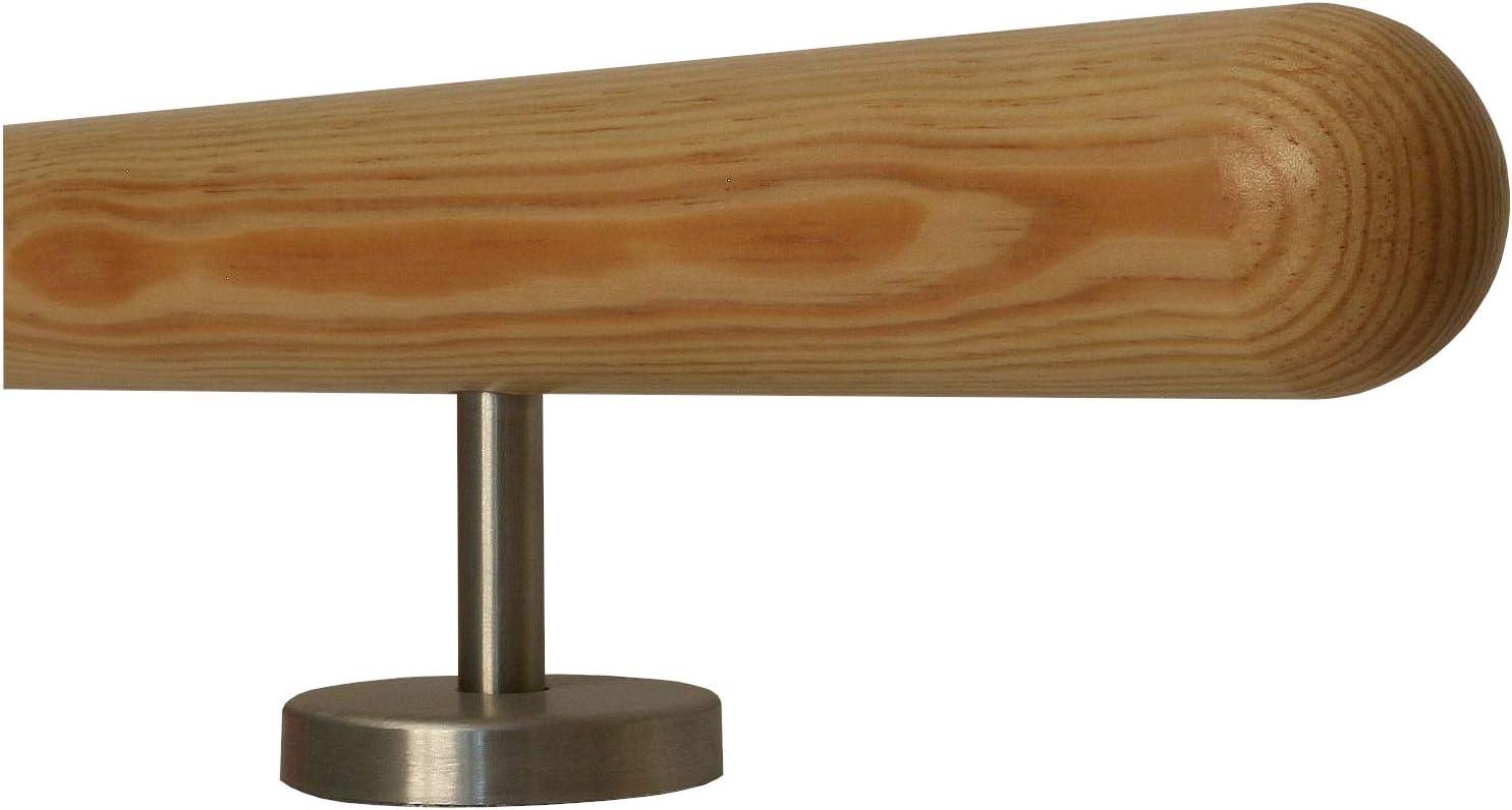 L/änge 30-500 cm aus einem St/ück//Variante:30 cm mit 2 Halter Enden Kiefer Gel/änder Handlauf Treppe Holz Griff gerade Edelstahlhalter Edelstahlbogen