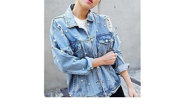 David Salc Womens NEW Street Vogue Frayed Loose Jaqueta Jeans Feminina Long Sleeve Chaquetas Mujer Light BlueX-Large at Amazon Womens Coats Shop