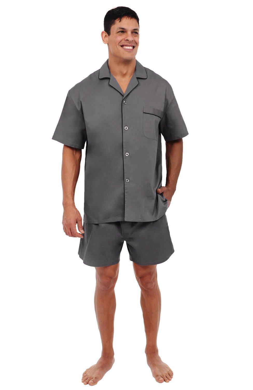 Alexander Del Rossa Mens Cotton Pajamas, Short Button-Down Woven Pj Set, Medium Steel Grey (A0697STLMD)