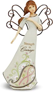 Perfectly Paisley Courage Angel Holding Bird by Pavilion, Reads Strength is Courage, 6-inches Tall