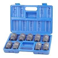 "9pc 1/2"" Drive Deep Impact Axle Hub Nut Impact Socket Set 29-30-31-32-33-34-35-36-&38mm"