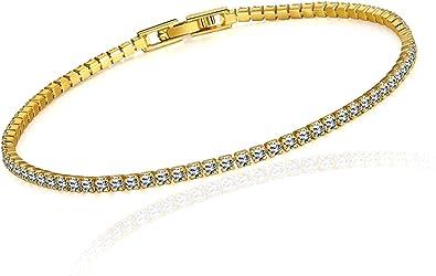 Fashion jaune cristal Plaqué or Chaîne Bracelet Bangle Bracelet Femmes Cadeau