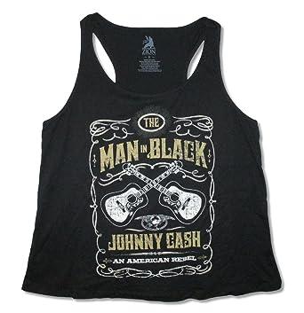 12a22c7d3eec0c Johnny Cash Guitar Crest Womens Black Plus Size Tank Top Shirt (Plus Size 0)