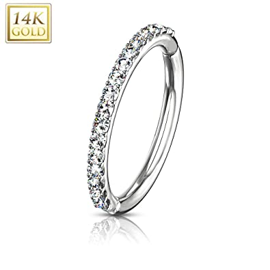 99f09c06cd68e Amazon.com: Covet Jewelry CZ Paved Half Circle Hinged Hoop Rings for ...