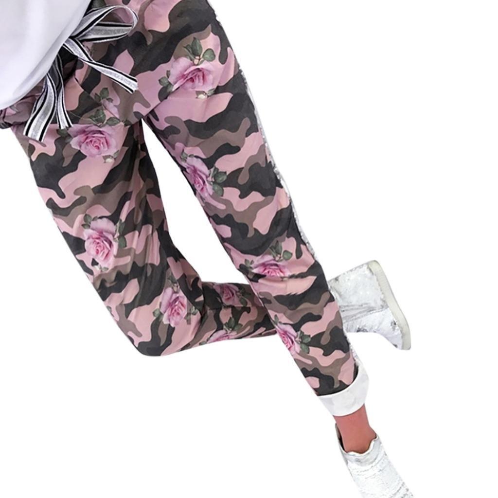 Damen Hosen Sommer LHWY Mode Frauen Camouflage Hosen Lang Print Verband Patchwork Schlanke Freizeithosen Teens Mädchen Elegante Hosen im Freien