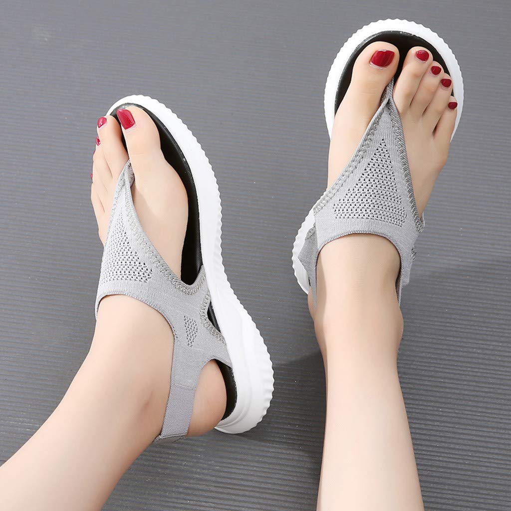 Women Thick Summer Flip Flop Shoes Clearance Sale, NDGDA Ladies Platform Roman Casual Flock Sandals by NDGDA Women Sandals (Image #6)