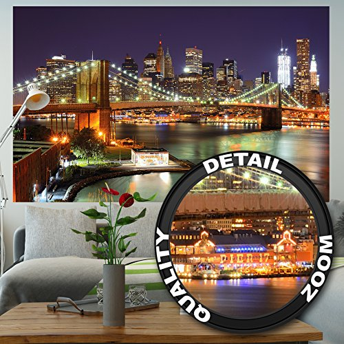 (GREAT ART Wallpaper Brooklyn Bridge - New York Wall Decoration at Night Poster Glowing Skyscraper Skyline Street USA Decorations (82.7x55)