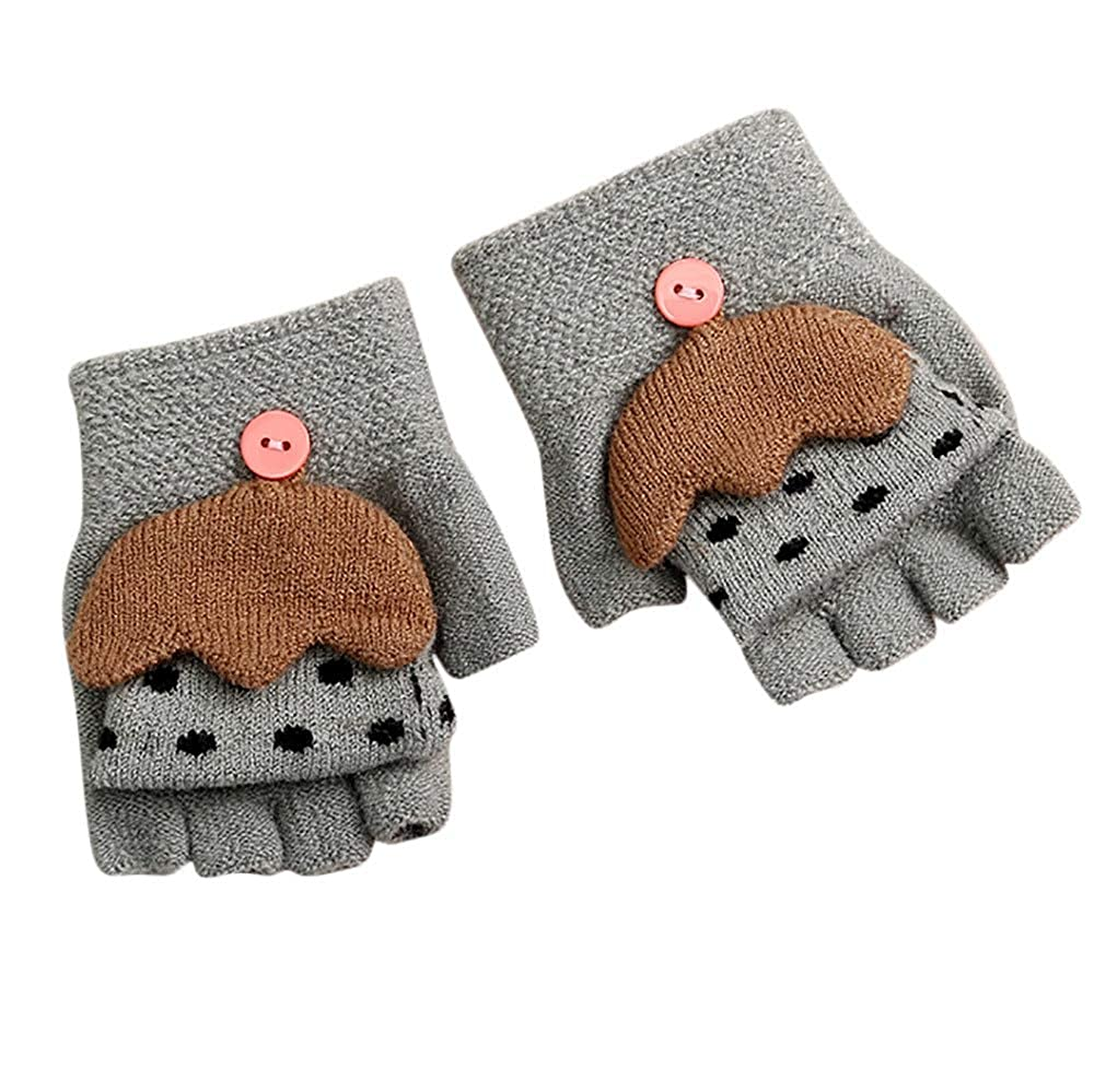 Children Baby Gloves Kids Girls Boys Winter Cartoon Umbrella Patchwork Half Finger Keep Warm Mittens Gloves Guante