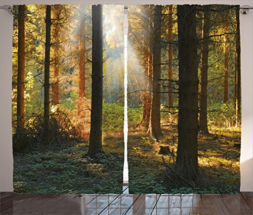 Dining Room Curtains Farm House Decor by Ambesonne, Sunset in Dark Pine Forest Autumn Foggy Scene with Sunbeams Trunks Shadow, Living Room Bedroom Decor, 2 Panel Set, 108W X 90L Inches, Orange Green
