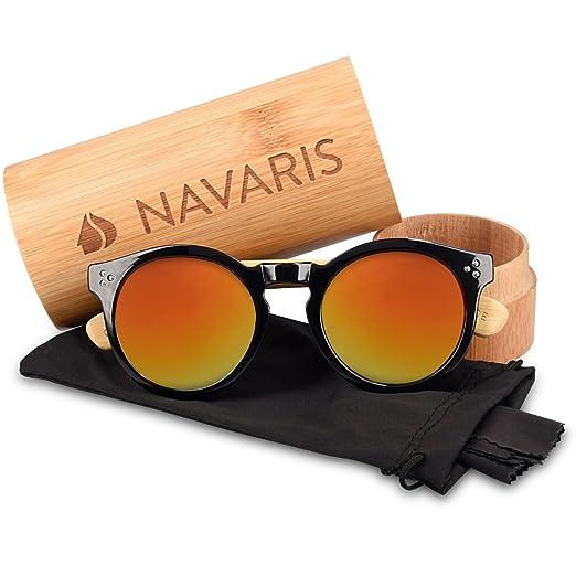 Navaris Clubmaster Sonnenbrille UV400 - Damen Herren Retro Holz Brille Holzoptik - Unisex Bambus Holzbrille mit Etui - Gläser in Neon Gelb 6EhqYTKpT