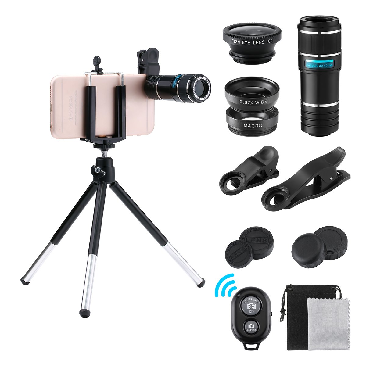 Cell Phone Camera Lens Kit, GLISTENY 4 in 1 HD 12X Zoom Telephoto Lens+ Fisheye+ Wide Angle+ Macro Lens+ Retractable Tripod+ Remote Shutter for IPhoneX, 8, 7, 6s, 6s Plus& Samsung &Smartphone