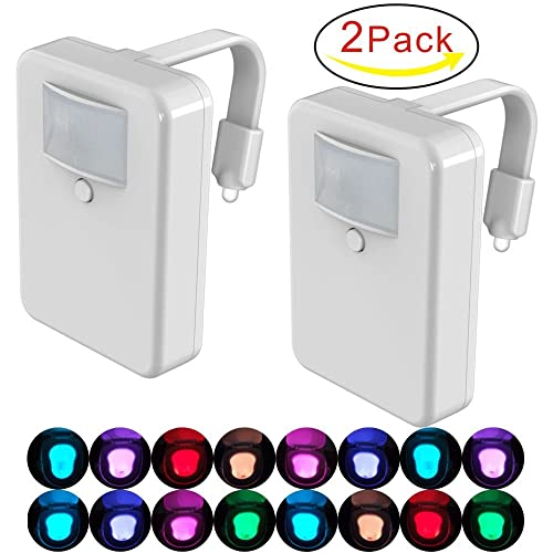 XINSTAR 2 Pack Motion Activated LED Toilet Night Light 16 Changing Colours,Glowbowl Bathroom Toilet Night Light(Only Activates in Darkness)
