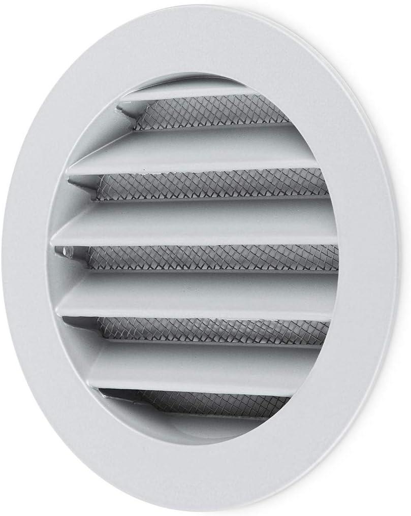 Klimapartner WSGG 100 - Rejilla de Ventilación Redonda Gris Aluminio