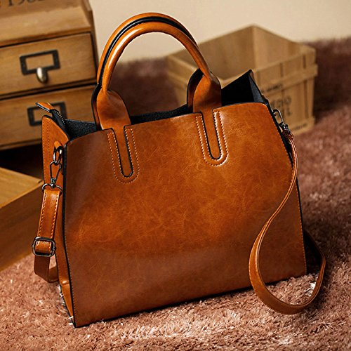 ed9de0473c Amazon.com  Leather Bags Handbags Women Famous Brands Big Casual Women Bags  Trunk Tote Spanish Brand Shoulder Bag Ladies large Bolsos Mujer  Handmade