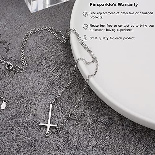 Pinsparkle Cross Necklaces For Women Men Sideways Cross Necklace Dainty Necklace Silver Cross Chain