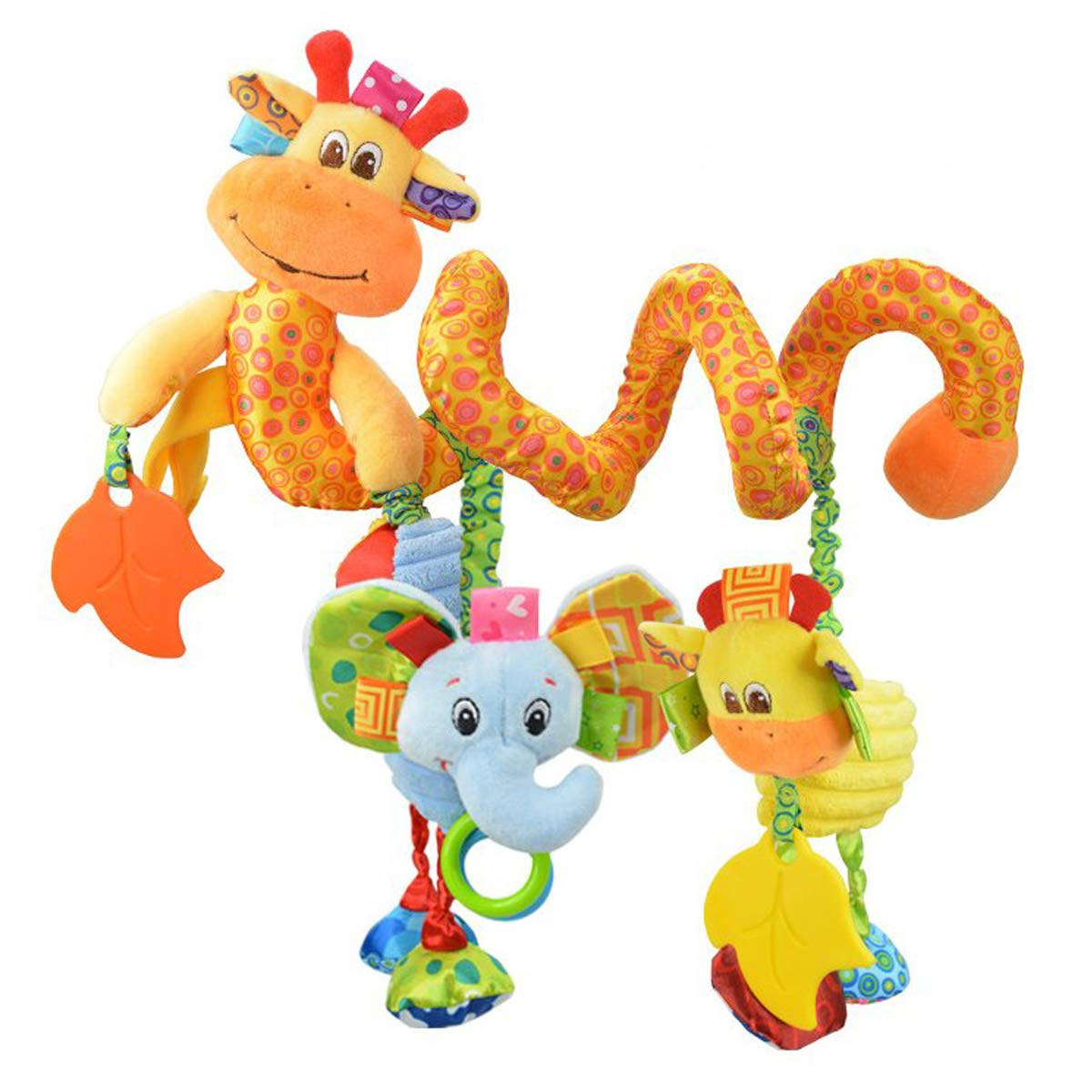VX-star Baby Pram Crib Ornament Hangings Yellow Cute Little Deer Shape Design Spiral Plush Toys Stroller and Travel Activity Toy