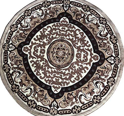 Round Rug Brown Oriental (Americana Traditional Persian Oriental Round Area Rug Ivory Beige Brown Americana Design 101 (5 Feet 3 Inch X 5 Feet 3 Inch))