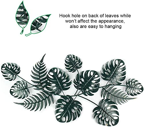 Liffy Metal Leaf Wall Art Outdoor Plant Decor Hanging Decorative Glass Sculpture Green