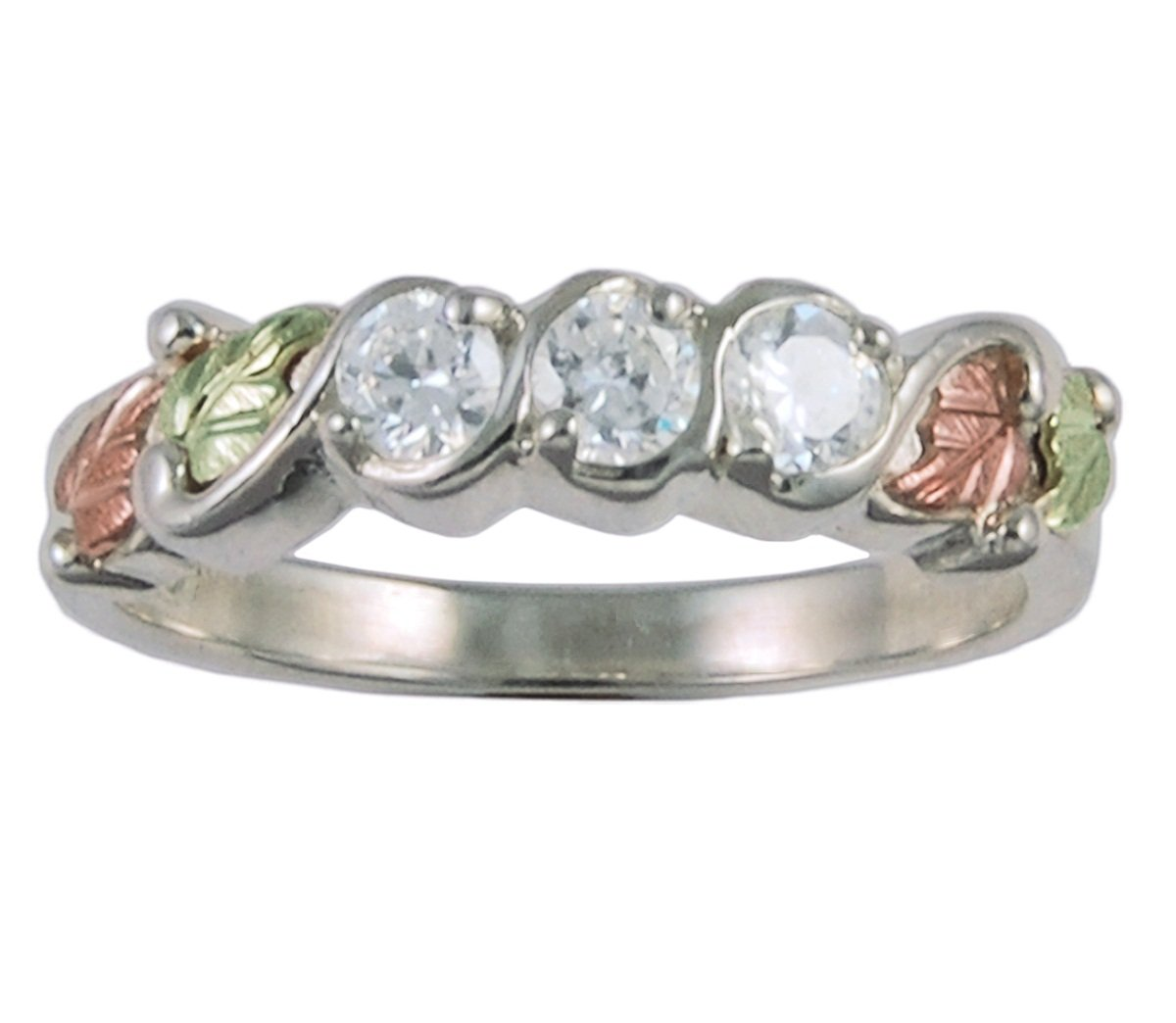 Past, Present Future CZ Band, Sterling Silver, 12k Green and Rose Gold Black Hills Gold Motif, Size 6