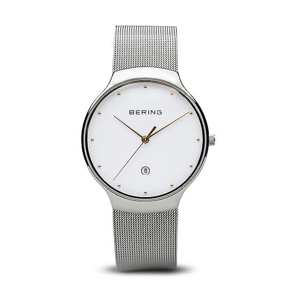 BERING Reloj Analógico para Unisex Adultos de Cuarzo con Correa en Acero Inoxidable 13338-001: Amazon.es: Relojes