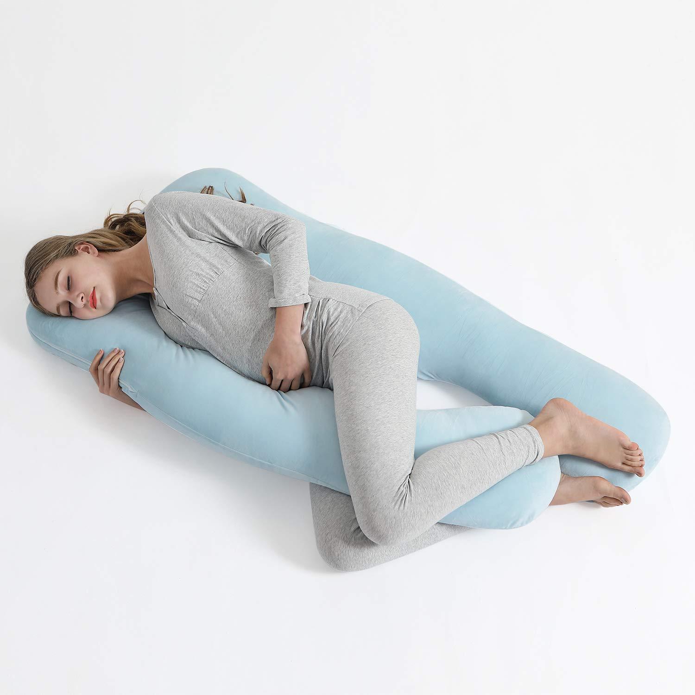 mit Samtbezug Abnehmbarem und Waschbarem LOOTUS U-f/örmiges Schwangerschaftskissen Seitenschl/äferkissen Lagerungskissen 140 x 78 cm Blau