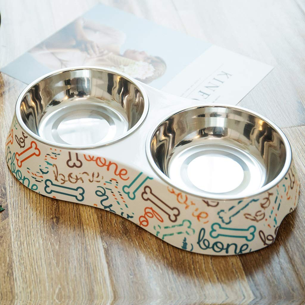 A Small A Small KTYX Pet Bowl Stainless Steel Non-Slip Double Layer Double Bowl Cat Puppy Bowl Multi-color Pet Bowl (color   A, Size   S)